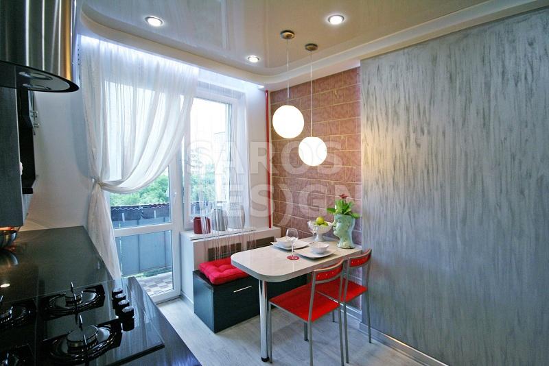 фото натяжных потолков на кухне со светильниками